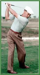 ben hogan in action at the top of his backswing