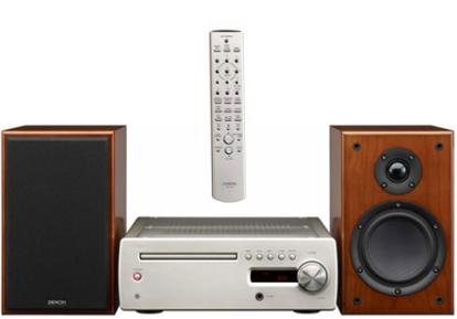 denon cx1 music system with wooden speakers
