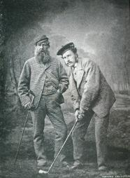 old tom morris watching his son, young tom morris in action