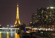 romantic paris skyline at night