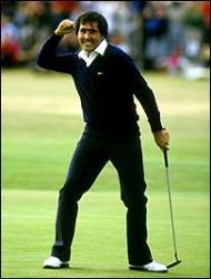 seve punches the air after winning at st andrews