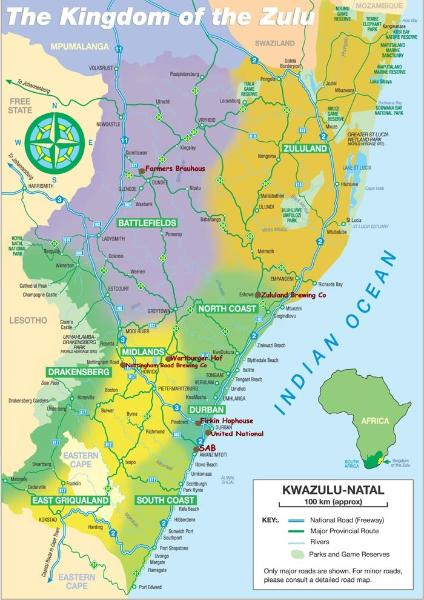 excellent map of kwazulu natal, the zulu kingdom map